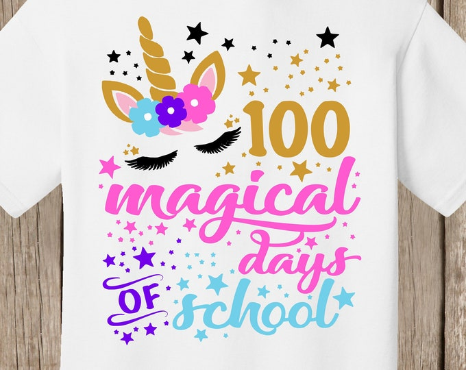 100th Day of School T Shirt white  - 100 magical days of school - unicorn with 100 stars - Celebrate 100 days of school!!  Ships quickly