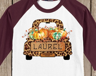 Vintage Antique Truck PERSONALIZED Autumn Thanksgiving Pumpkin cheetah print Fall T shirt 3/4 sleeve baseball style raglan - several colors