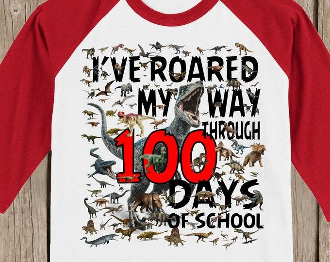 100th Day of School Raglan baseball style T Shirt - 100 dinosaurs - I've roared my way through 100 days of school