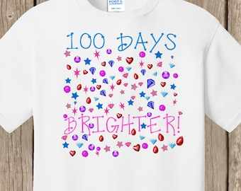 100th Day of School T Shirt white - 100 bright items - 100 days brighter - Celebrate 100 days of school!