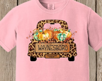 Vintage Antique Truck PERSONALIZED Autumn Thanksgiving Pumpkin cheetah print Fall Farm T shirt Comfort Colors tee - several colors