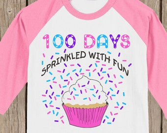 CLEARANCE 100th Day of School Raglan T Shirt - 100 sprinkles - 100 days sprinkled with fun - Celebrate 100 days of school!!  Youth XL