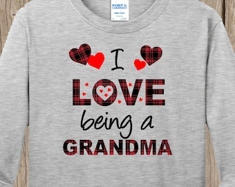 Plaid Valentines Hearts I love being a Grandma LONG sleeved T shirt w YOUR title - MeMe, MiMi, Nona, Nonnie, Nana, Aunt