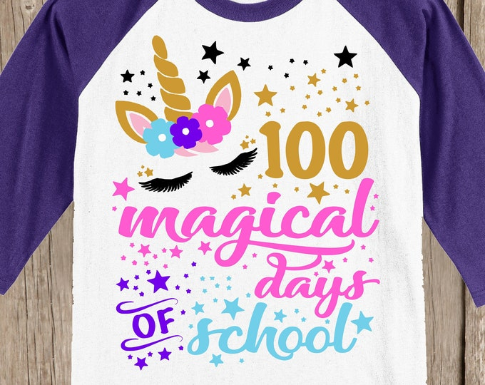 100th Day of School Raglan Baseball style T Shirt - unicorn with 100 magical days of school - design has 100 stars