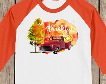 Vintage Antique Red Truck Autumn Thanksgiving Thankful T shirt 3/4 sleeve baseball style raglan - several colors