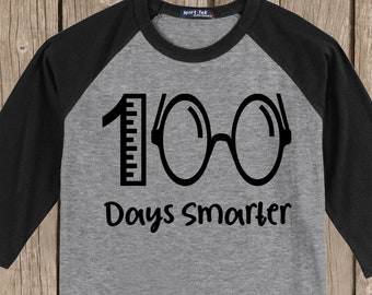 100th Day of School Raglan baseball style T Shirt - 100 days smarter with ruler and eye glasses