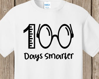 100th Day of School T Shirt white  - 100 days smarter with ruler and eyeglasses.   Ships very quickly