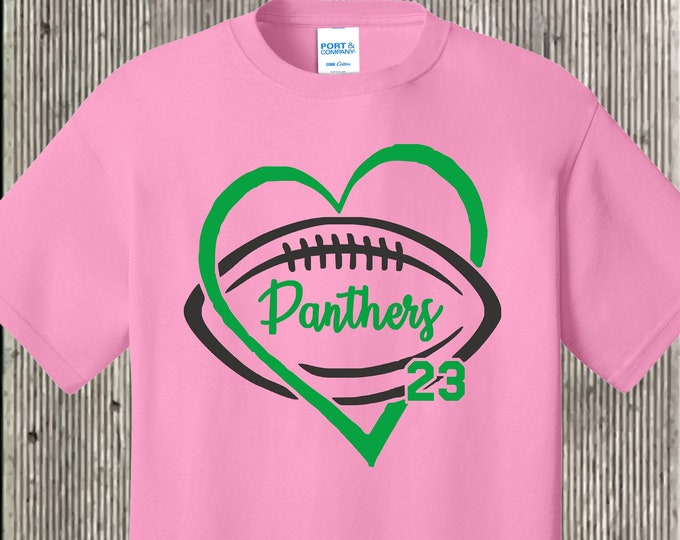 Personalized football team T shirt - add your team or player name, number-several shirt and print colors available football girlfriend - mom