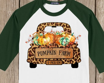 Vintage Antique Truck Autumn Thanksgiving Pumpkin cheetah print Fall Farm T shirt 3/4 sleeve baseball style raglan - several colors