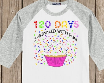 120th Day of School Raglan T Shirt - 120 sprinkles - 120 days sprinkled with fun - Celebrate 120 days of school!!
