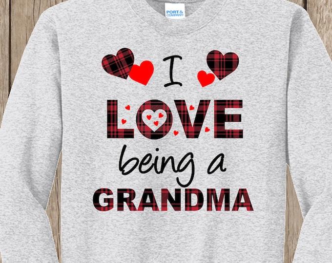 Plaid Valentines Hearts I love being a Grandma SWEATSHIRT w YOUR title - MeMe, MiMi, Nona, Nonnie, Nana, Aunt