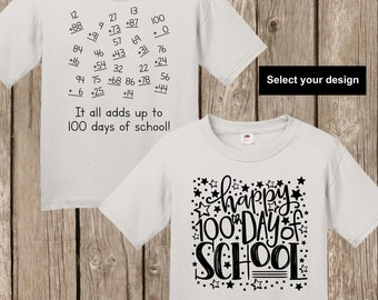 100th Day of School T shirt - either numbers that add up to 100 math shirt or Happy 100th Day of School YOUTH EXTRA SMALL silver T shirt