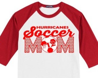 Personalized Soccer Mom T Shirt Raglan Your Choice of Print, Shirt Color, Team Name - Any Sport or Activity!