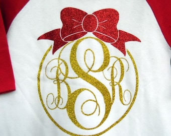 Christmas Glitter Monogram T Shirt/3/4 Sleeve baseball style Raglan - Get your initials on any color combination for holiday wear