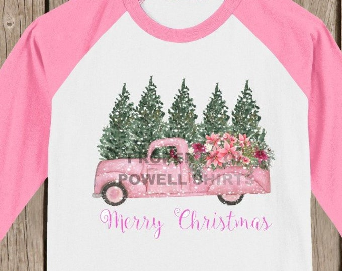 Vintage Antique Retro Pink Christmas Pick Up Truck T shirt 3/4 sleeve baseball style raglan - several colors available