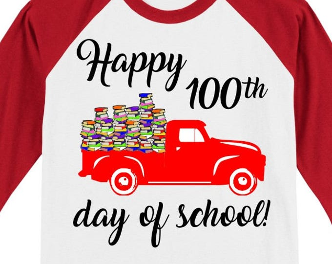 100th Day of School Raglan Vintage truck T Shirt - several sleeve color options - Celebrate 100 days of school!! 100 Books in truck! CURSIVE