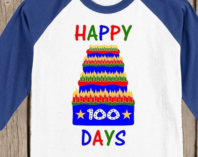 100th Day of School Raglan T Shirt - Birthday Cake in blue, green, and red 3/4 sleeve baseball style shirt Celebrate 100 days of school