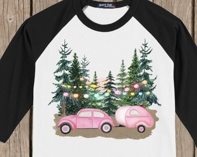 Vintage Antique Retro Pink Christmas Car and Camper Holiday T shirt 3/4 sleeve baseball style raglan - several colors available