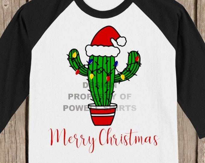 Cute Cactus Merry Christmas T shirt 3/4 sleeve baseball style raglan - several colors available