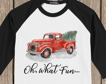 Vintage Antique Retro Red Truck with Tree Oh, What Fun... Holiday T shirt 3/4 sleeve baseball style raglan - several colors available