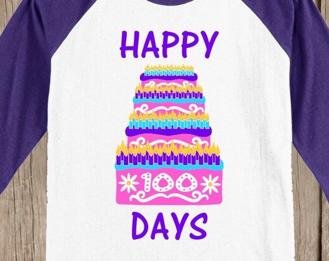 100th Day of School Raglan T Shirt - Birthday Cake in pink, purple, aqua blue 3/4 sleeve baseball style shirt Celebrate 100 days of school