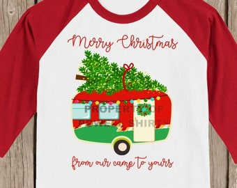 Vintage Retro Camper Merry Christmas from our camp to yours T shirt 3/4 sleeve baseball style raglan - several colors available