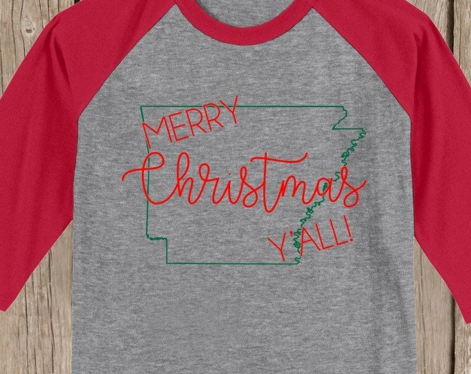 Arkansas Merry Christmas Y'all T shirt 3/4 sleeve baseball style raglan - several colors available