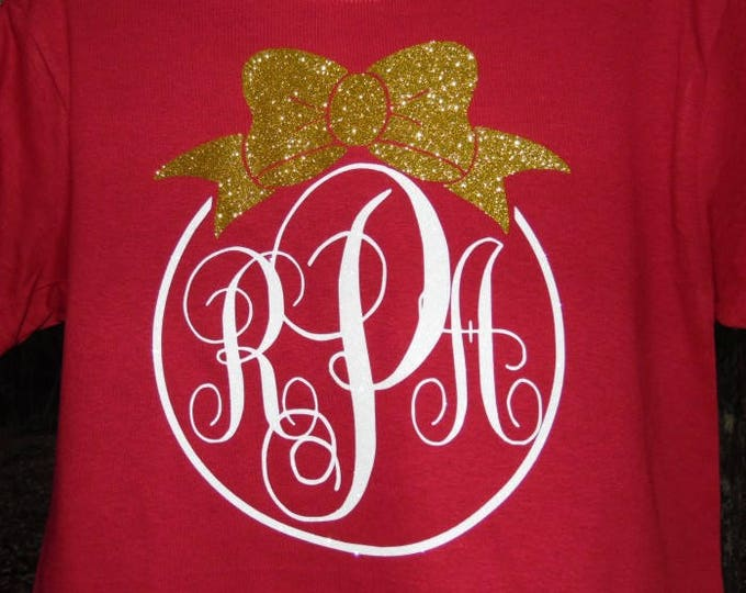 Ornament Glitter Monogram Christmas T Shirt - any color combination - sparkly holiday wear
