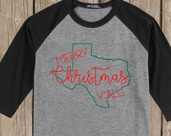 Texas Merry Christmas Y'all T shirt 3/4 sleeve baseball style raglan - several colors available