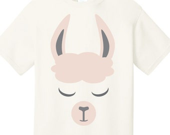 Llama face T shirt available in several colors and sizes 6M - 6X