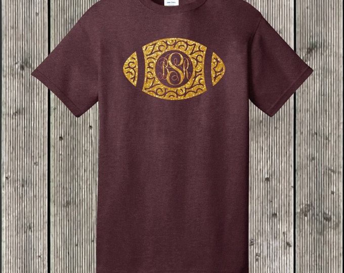 Swirly football monogram T shirt with GLITTER - several shirt and glitter colors available