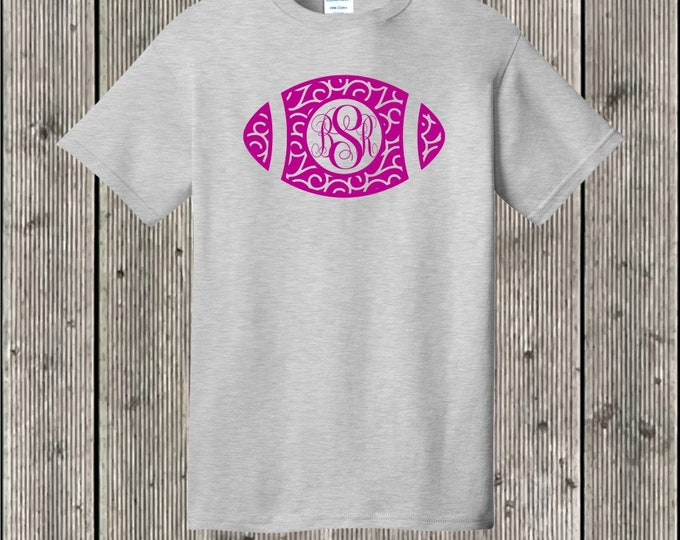 Swirly football monogrammed T shirt - several shirt and print colors available