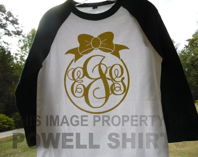 Christmas Holiday ornament GLITTER monogrammed shirt - T shirt/3/4 sleeve baseball style raglan - available in several colors and YOUTH SZS