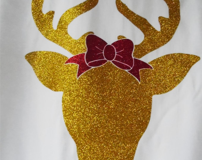 GLITTER REINDEER with BOW,Raglan 3/4 sleeve t-shirt, Christmas, unlimited color combinations, Rudolph the Red Nose, multiple shirt styles.ch