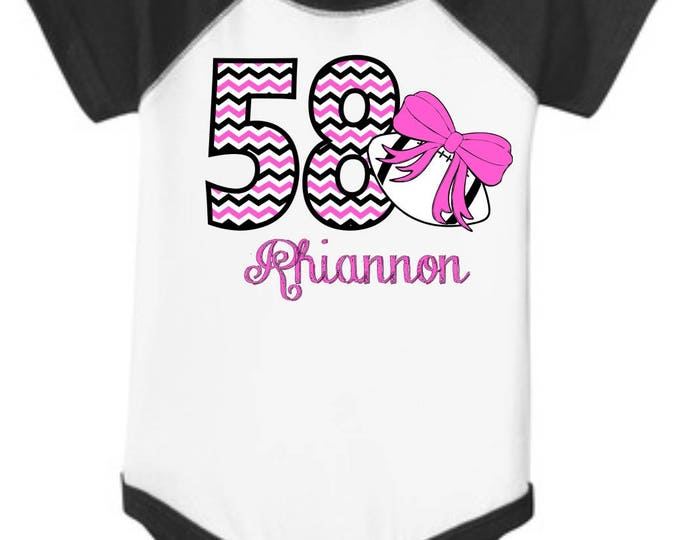 "Personalized Baby Girl's Football RAGLAN Onesie One-piece body suit with ""Chevron"" Number, Name, and Print Color of your choice"