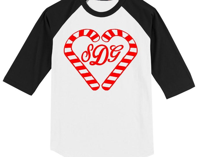 KIDS CANDY CANE Monogram or Name design- on a 3/4 sleeve baseball style raglan ab