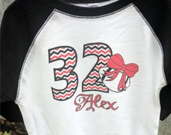 "Personalized Toddler Girl's Football 3/4 sleeved RAGLAN T Shirt  with ""Chevron"" Number, Name, and Print Color of your choice"