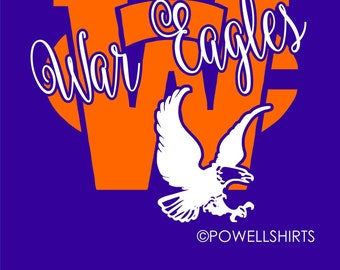 Wayne County War Eagles High School T Shirt in orange or navy - plus one more design option