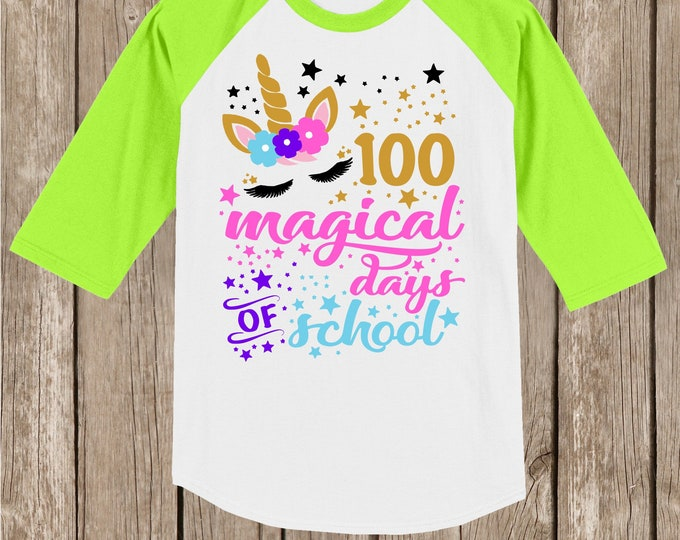 Clearance youth small white with lime sleeves - 100th Day of School Raglan Baseball style T Shirt - unicorn with 100 magical days of school