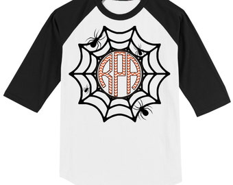 Cute Girl's Halloween Spider Web monogrammed 3/4 sleeve baseball style raglan T shirt - white/black, white/gray or white/orange - sizes 4-16