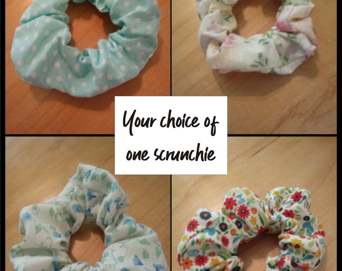 One handmade scrunchie for hair or wrist - choice from four different fabric designs