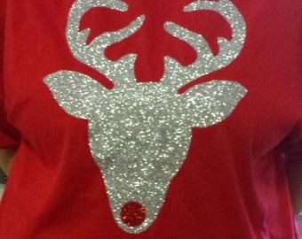 GLITTER CHRISTMAS REINDEER Short-sleeve shirt with unlimited color combinations, Rudolph the Red Nose, multiple shirt styles to choose.ch