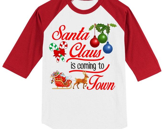 SANTA CHRISTMAS RAGLAN 3/4 baseball sleeve ab