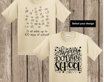 100th Day of School T shirt - either numbers that add up to 100 or Happy 100th Day of School YOUTH EXTRA SMALL Gildan sand T shirt