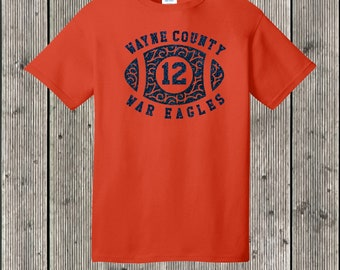 Personalized School Swirly football T shirt with GLITTER - Featuring your team, mascot name, and favorite player's number - many colors