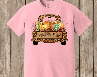Vintage Antique Truck Autumn Thanksgiving Pumpkin cheetah print Fall Farm Comfort Colors T shirt  - several colors