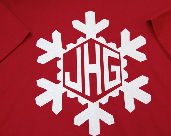 GLITTER SNOWFLAKE MONOGRAM sweatshirt youth adult women Personalized Christmas holiday Unlimited Color Combinations!  winter customized  ah