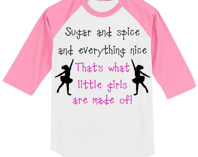 GIRL Gender Reveal Party T Shirt (3/4 sleeve baseball style raglan) for (future) dancer/ballerina - white/pink slvs szs YXS - Adult 6X 0616