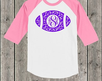 Swirly football monogrammed T shirt 3/4 sleeve baseball style raglan.  Your choice of sleeve color and print color.  Football T Shirt Raglan