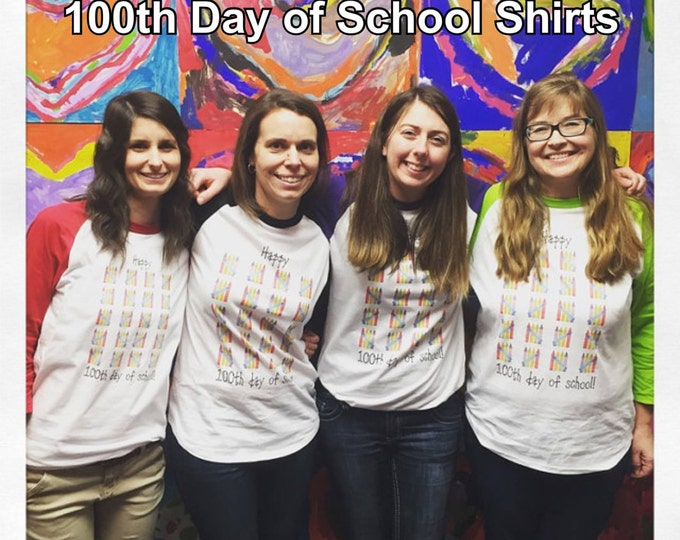 100th Day of School Raglan T Shirt - several sleeve color options - Celebrate 100 days of school!! 100 Colorful Crayons
